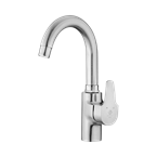 Anita Basin Mixer With Short Spout Steel