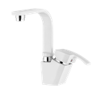 Arta Basin Mixer With Short Spout White